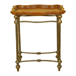 Welcome Home Accents - Twist Leg Side Table - Rectangular side table features warm walnut finish with aged bronze twisted rope metal legs. Trayed top perfect for serving from. Assembly required. Wipe with a dry cloth.