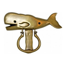 "Handcrafted Model Ships - Solid Brass Whale Door Knocker 8"" - Whale Decoration - The Solid Brass Whale Door Knocker 8"" is the perfect addition for any nautical themed home. This is a solid, and durable decorative door knocker. Easily mountable, display this whale door knocker to show those who approach your home, an affinity for the nautical sea-faring lifestyle."