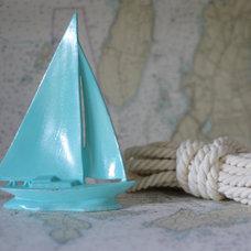 Beach Decor Aqua Blue Sailboat by ByTheSeashoreDecor on Etsy