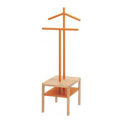 Modern Coatrack, Orange - Two distinct objects, a stool and a valet, to create a unique and functional piece. The valets can be used for hanging clothes and stool as a tray to hold small objects.