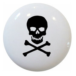 Carolina Hardware and Decor, LLC - Black Skull & Crossbones Ceramic Knob - New 1 1/2 inch ceramic cabinet, drawer, or furniture knob with mounting hardware included. Also works great in a bathroom or on bi-fold closet doors (may require longer screws). Item can be wiped clean with a soft damp cloth. Great addition and nice finishing touch to any room!