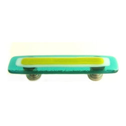 Uneek Glass Fusions - Aqua, White, and Lime Green Glass Drawer Pull, Satin Nickel - Strato Collection