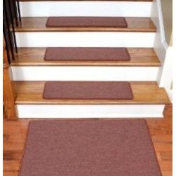 """Dean Flooring Company - Dean Serged DIY Carpet Stair Treads 27"""" x 9"""" - Terra Cotta - Set of 13 Plus Mat - Dean Serged DIY Carpet Stair Treads 27"""" x 9"""" - Terra Cotta - Set of 13 Plus a Matching 2' x 3' Landing Mat : Quality, Stylish Carpet Stair Treads by Dean Flooring Company Extend the life of your high traffic hardwood stairs. Reduce slips/increase traction (your treads must be attached securely to your stairs). Cut down on track-in dirt. Great for pets and pet owners. Helps your dog easily navigate your slippery staircase. 100% Polypropylene. Set includes 13 carpet stair treads plus a matching 2' x 3' landing mat and one roll of double-sided carpet tape for easy, do-it-yourself installation. Each tread is serged around the edges with beautiful color matching yarn. Rounded corners. No bulky fastening strips. You may remove your treads for cleaning and re-attach them when you are done. Add a touch of warmth and style and a fresh new look to your stairs today with new carpet stair treads from Dean Flooring Company! This product is designed, manufactured, and sold exclusively by Dean Flooring Company."""