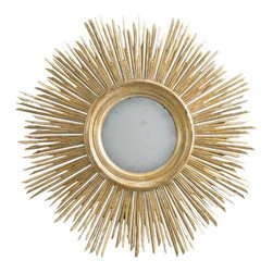 """Lillian August - Lillian August Maddox Mirror - Gold - """"As Seen In"""" - Elle Decor Magazine, April 2014Hand carved wooden sunburst mirror, hand painted in a gold finish with aged burnished highlights. A delicate bezel around the mirror gives it a jewelry like detail."""