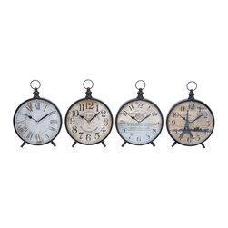 Benzara - Desk Clock with Round Face for Table - Set of 4 - This set of metal wall clocks of fur is a perfect gifting option for your loved ones house warming party or decorating your own home with similar looking elegant time pieces. They not only help you in being disciplined but also infuse a stylish charm to your decor. Made of the finest quality metal, these clocks are sturdy, durable, and long lasting with a timeless classic look that is sure to be with you with retained charm for years together. Keep them on your study desk, office desk, bed side, living room or even in your kitchen, they help you in setting up a matching interior in all your rooms. With a blend of roman and digital numerals, every clock offers a bright dial for convenient and bright visual.