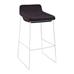 Modway - Modway EEI-1029 Garner Bar Stool in Black - Benefit from the comfort of a lounge chair in this barstool made to please. Garner features a chrome plated aluminum frame and generously padded foam seat with upholstered fabric to keep you coming back for more. The deep-seated design and supportive backrest make this a modern piece that both looks and feels great. Garner also comes with a well-positioned footrest to help prevent slouching.
