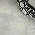 Hex Stone Mosaic - 7cm Hex natural stone mosaic shown in polished Calacatta Radiance.