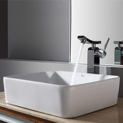 Kraus - Kraus White Rectangular Ceramic Sink and Unicus Faucet - Add a touch of elegance to your bathroom with a ceramic sink combo from Kraus