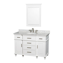 Wyndham Collection - Berkeley Bathroom Vanity in White, White  Carrera Top, White Sink, Mirror - If your bathroom's asking you for a facelift, the Berkeley is a worthy choice. At once elegant, classic and contemporary, the Berkeley vanity lends an air of sophistication and charm to any bathroom, from a Soho penthouse to a rustic country home. Carefully hand built to last for decades and finished in Dark Chestnut or White, this solid wood vanity has counter options to compete the timeless look.
