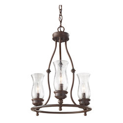 "Murray Feiss - Murray Feiss F2782/3HTBZ Chandelier - Brown cord. Material: Steel. Clear Seeded Glass. Number of Bulbs: 3. Bulb Base: Candelabra. Bulb Type: Incandescent. Watts Per Bulb: 60. Wattage: 180. Voltage: 120. Bulb Included: No. Height: 18.625"". Diameter: 15"". Canopy Width: 5.688"". Chain Length: 36"". Wire Length: 48"". Light Direction: Up Lighting. UL Listed: Yes. UL Rating: Dry Location."