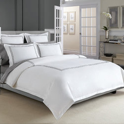 Wamsutta® Baratta Stitch MicroCotton® Duvet Cover In Black - Bring hotel comfort to your bedroom with the Wamsutta Baratta Stitch MicroCotton Duvet Cover that is adorned with double baratta stitch embroidery and spun up in sumptuously soft 100% premium long staple cotton for supreme luxury.