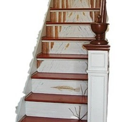 Casart coverings - Woodland Stream Stair Mural Wallcoverings, Small (20 Sq. Ft.), Casart Light - Artist designed, illustrated and hand-painted figurative elements and full-scale murals that can add impact and interest on stair risers. The Woodland Stream Mural captivates attention and brings nature indoors for all seasons and occasional holiday and springtime decorations. On the side of this product are tall, tan trees featuring a light blue stream in the middle with orange fish swimming toward the same direction. Black and white birds are perched on tree branches and blue butterflies fly above the stream.
