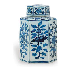 Port 68 - Four Seasons Jar - Get a vibrant visual reminder of the year's changing seasons with this hand-painted porcelain jar. Featuring an array of unique plant designs in blue and white, this Asian-style jar makes an excellent decorative addition to Asian or contemporary decor.