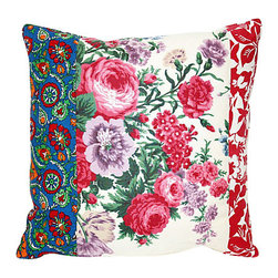 Acapillow - Floral Patchwork Pillow - This striking pillow is a patchwork piece of art — just one that hangs out on your couch instead of up on your wall. Lush, lovely and eclectic, it's filled with soft down and gorgeous style.