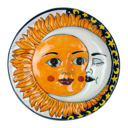 "Talavera Sun & Moon Wall-hanging - This wall-hanging with sun and moon faces will add a whimsical touch to your room or patio. Handcrafted and painted by Mexican talavera artists. Visit our website for more. Your sun and moon face will be the same design and colors as shown. 14"" Diameter x 2"" d"