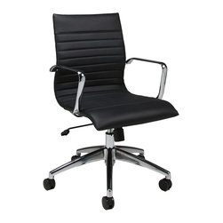 Pastel Furniture - Pastel Janette Office Chair - Chrome and Aluminum - PU Black - The Janette office chair has a retro and modern flair that will brighten any room. The chair features durable chrome and aluminum frame with wheel casters. It is comfortably upholstered in PU black with adjustable tilt tension control and lift adjustable seat height. The Janette chair works in any and every office space.