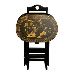 Oriental Furniture - Rosewood TV Tray Set - Antique Gold - A beautifully crafted set of folding TV trays with a conveniently designed stand, hand painted with a lovely antiqued gold art motif over fine black lacquer. Great for enjoying a meal in the living room or family room, or serving beverages and snacks at a gathering of friends or family. The hand painted art motif is a classic bamboo and butterfly design, creating distinctive, elegant table tops. Simple, practical home decor accessories, in a lovely oriental design.