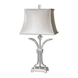 Uttermost - Carovilli Nickel Table Lamp - Traditional with a twist, this disarming table lamp, designed by Carolyn Kinder, makes a dazzling statement in your decor. The polished nickel finish, silken silver shade and sparkling crystal accent create an irresistibly cool monochrome effect.