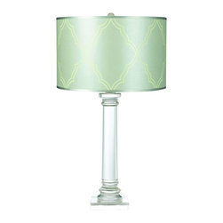 """AF Lighting - Trellis Table Lamp Classic Crystal Base with Silver-Blue Shade - The Trellis table lamp and the pattern it is named for are exclusive designs by Candice Olson. The table lamp has a classic solid crystal base is highlighted by the hand printed satin silver-blue paper shade. Measuring 28.5""""H x 16""""W, this table lamp requires a 150W 3 Way Edison base bulb. Due to hand crafting, no two table lamps are exactly alike."""