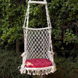 Princess Hammock Chair - This chair definitely has a bohemian vibe. I would add a much more colorful pillow to bring out the funkiness of this chair.