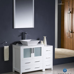 "Fresca - Fresca Torino 42"" Modern Bathroom Vanity w/ One Side Cabinet & Vessel Sink - Whi - Fresca is pleased to usher in a new age of customization with the introduction of its Torino line. The frosted glass panels of the doors balance out the sleek and modern lines of Torino, allowing it to fit perfectly in both 'Town' and 'Country' décor.The Fresco Torino bathroom vanity is 42"" wide and 33.75"" high, and boasts 18.13"" deep under-sink storage space – perfect for towels and other bathroom necessities. This bathroom vanity is completed with a 20.75"" wide x 31.5"" high x 1.25"" deep wall mounted mirror for optimal function and style.Items included: Main Vanity Cabinet(s), Countertop(s), Vessel/Integrated Sink(s), Mirror(s), Faucet(s), P-Trap and Pop-Up Drain(s), Standard hardware needed for installation.DecorPlanet is proud to offer Fresca Bathroom products. Fresca is a leading manufacturer of high-quality vanities, accessories, toilets, faucets, and everything else to give you the freshest bathroom in the neighborhood. Fresca is known for carrying the latest and most popular styles in modern and contemporary bathroom design that are made with high quality materials and superior workmanship."