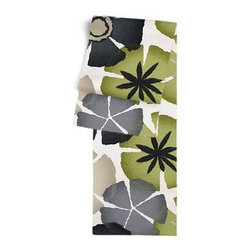 Gray & Green Giant Ombre Botanical Custom Table Runner - Get ready to dine in style with your new Simple Table Runner. With clean rolled edges and hundreds of fabrics to choose from, it's the perfect centerpiece to the well set table. We love it in this ombre gray and green giant citrus floral for a modern, abstract accent to your decor.