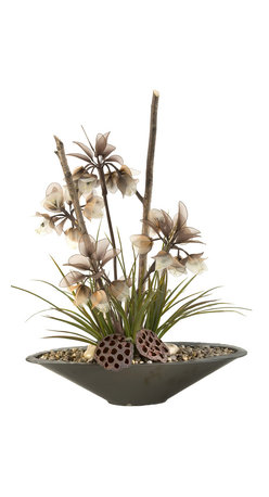 D&W Silks - D&W Silks Lighted Crown Flowers And Grasses In Planter - Lighted Imperial Flowers with Lotus Pods, Wild Grass, and Birch Sticks