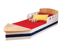 """KidKraft - Kidkraft Kids Children Home Indoor Bedroom Furniture Boat Toddler Bed - Getting a good night's sleep is smooth sailing with our Boat Toddler Cot. With its creative design and quality craftsmanship, this toddler cot will make your child's transition from a crib to a regular bed as painless as possible. Age Range: 3 Plus. Dimension: 72.5""""x 32""""x 20.25""""H"""
