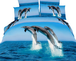 Dolce Mela - Marine Luxury Bedding Duvet Cover Set Dolce Mela DM425, King - Transform your bedrooms energy with this spectacular animal themed bedding of adorable dolphins dancing on the crystal blue ocean and set the perfect mood for your boys or girls bedding decor.