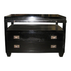 NOIR - NOIR Furniture - 2 Drawers Side Table with Sliding Tray - GTAB243, Hand Rubbed B - Features: