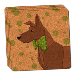"""Made on Terra - Brown Dog Wearing Bowtie Thin Cork Coaster Set of 4 - You're just cleaning up after your epic party when you realize it... something's different. Unlike all those other times, you're not mopping up cup condensation from your counters and tables. This time, everyone used a coaster. Everyone. Maybe it's because you handed out a coaster with every glass. No. You've tried that before. No, this time it's because of the actual coasters. You found the cutest Made On Terra printed cork coasters. You love that everyone commented on how unique they were,  from the light-weight, thin cork material to the printing that creates a cool and subtle effect. Plus, they're really absorbent, but dry quickly. And they're made from an eco-friendly, sustainable resource, so that makes you feel pretty great, too. Choose from Made on Terra's many fabulous cork coasters. Measures 4"""" x 4"""" x 1/8"""". Made of thin cork. Super cute and nicely absorbent. Sold in sets of four."""