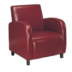 Monarch Specialties - Monarch Specialties I 8051 Burgundy Leather-Look Accent Chair - Smooth curves and a bold design make the Carter upholstered arm chair a must accent piece for your home . The square seat and high seat back provide supportive comfort while sleek track arms round out the design with chic and sophisticated curves. Simple post legs in a dark cappuccino finish anchor the base of the chair and is offered in your choice of dark brown, burgundy or beige leather look material. Accent Chair (1)