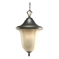 Progress Lighting - Progress Lighting Le Jardin Traditional Outdoor Hanging Light X-48-7055P - Clean traditional charm helps to create this Progress Lighting outdoor hanging light, making it a versatile addition to your outdoor lighting. The weathered sandstone glass shade with soft texturing adds to the elegant appeal while an Espresso finish highlights the elegant curves of the roof and the finial at the base.