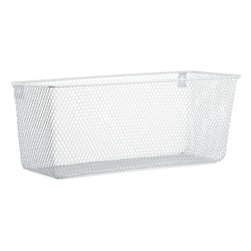 industrial mesh wall mounted basket - a fine mesh we're in. Hi-gloss brite white steel mesh catchalls go up against the wall. Stash towels in the bath, documents in the office, pantry items in the kitchen.- Oversized, all-purpose basket- Steel with white epoxy finish- Store towels, documents or pantry items- Made in China- See dimensions below