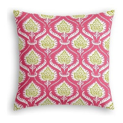 Pink Artichoke Custom Euro Sham - The secret to those perfectly made beds you eye in magazines? Euro shams. Complete your bed set with a set of Simple Euro Shams for a look that's as stylish as it is snuggly.  We love it in this preppy modern print of pink and green artichokes and damask-like scrolls.