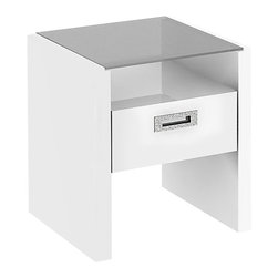 Kathy Ireland Office by Bush Furniture - Kathy Ireland by Bush New York Skyline Glass Top End Table in White - Kathy Ireland Office by Bush Furniture - End Tables - KI1021003 -Finish your Kathy Ireland Office by Bush Furniture New York Skyline office suite with this attractive glass-top end table. The piece includes a storage drawer plus rounded corners and soft edges to keep your little ones safe. Mix and match confidently with any Kathy Ireland Office by Bush Furniture New York Skyline piece. All pieces are crafted with painted wood finish and a protective top coat. Features Bush Furniture's Quick-to-Assemble technology to dramatically reduce assembly time.