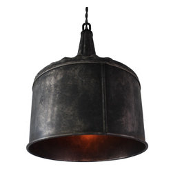 Hand made - Large steel funnel pendant light, Black Steel - The simple, sleek design of this pendant adds a touch of modern industrial style to any area of your home,and looks especially striking displayed in sets of two or three over a dining table or bar area. Also provides excellent task lighting for a kitchen work space.