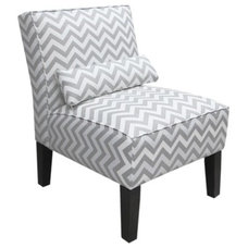 Armless Upholstered Accent Slipper Chair - Gray/White product details page