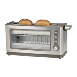 Kalorik - Kalorik Stainless Steel Glass Toaster - Wake your morning up with the chic Kalorik transparent glass side toaster! This toaster lets you see those slices gradually turning just the shade of golden brown that meets your preference. Not only is this appliance easy to use with its cancel, bagel, reheat and defrost functions, but clean up is hassle free with its slide-out glass frame and a removable crumb tray. Other great highlights are the toaster's extra-lift that lets you use smaller pieces of bread, and the auto-shut-off and auto-centering guide features. Be the first of your friends and family to own such a unique appliance and toast your bread in style!