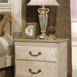 Standard Furniture - Seville Nightstand - Drawer stops are included for safety. Two drawers for storing bedside items. Sturdy tops are perfect surface for setting your morning cup of coffee. Simulated carvings offer texture and richness to the design. Roller side drawer guides allowing for easy operation. Bail pulls and knobs with simulated pewter. Simulated Jura granite on case pieces make cleaning easy. Surfaces clean easily with a soft cloth. Made from wood products with simulated wood grain laminates. Old fashioned wood color and simulated Jura granite finish. 23 in. W x 15 in. D x 24 in. HSeville offers a warm blend of soft tones and granite color illustrate the European Country style of this collection. Quality wood products bonded together bonded together create durable construction throughout.