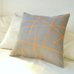 Grey Linen With Neon Orange Stripes Pillow Cover By Paleolochic - Here, neon orange stripes crisscross over gray linen to create an eye-catching throw pillow.