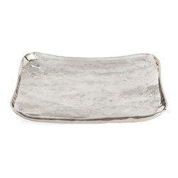 Sofia Large Rectangular Polished Nickel Tray - Sublime silver hue running through a faintly irregular, stylish form gives the Sofia Tray its chic effect. Bordered by an irregular rolled edge that provides a wavering boundary to the shallow scoop of this tray's artisan shape, the home-decor vessel is exquisitely posh on the vanity or coffee table, where its superb, distinctive craftsmanship sets your home accents apart from the ordinary.