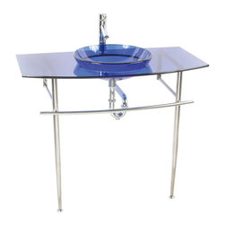 Renovators Supply - Glass Sinks Glass/Chrome Blue Portofino Console Glass Sink - Glass Sinks: The tempered glass Blue Portofino console sink package comes complete with faucet, pop-up drain, p-trap and stainless steel console.
