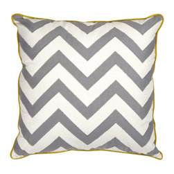 iMax - iMax Essentials Mellow Yellow Pillow X-50379 - With a soft white color and yellow piping, this pillow features an embroidered gray chevron pattern and looks lovely in a variety of color palettes. Essentials by Connie Post