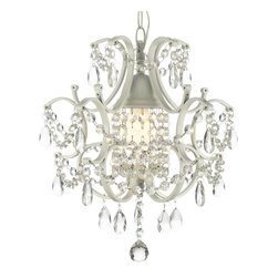 French Country White Wrought Iron and Crystal Chandelier - A great European tradition. Nothing is quite as elegant as the fine chandeliers that gave to beautiful evenings at palaces and manor houses across Europe. This beautiful chandelier from the Versailles Collection has 1 light and is decorated and draped with crystal. The frame is Wrought Iron, adding the finishing touch to a wonderful fixture. The timeless elegance of this chandelier is sure to lend a special atmosphere anywhere its placed!