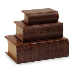 Nesting Wooden Book Boxes - Set of 3 - Nesting wooden book boxes, covered in colorful, faux leather