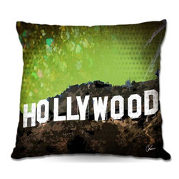 DiaNoche Designs - Pillow Linen - Corina Bakkes Hollywood - Add a little texture and style to your decor with our Woven Linen throw pillows. The material has a smooth boxy weave and each pillow is machine loomed, then printed and sewn in the USA.  100% smooth poly with cushy supportive pillow insert with a hidden zip closure. Dye Sublimation printing adheres the ink to the material for long life and durability. Double Sided Print, machine wash upon arrival for maximum softness. Product may vary slightly from image.