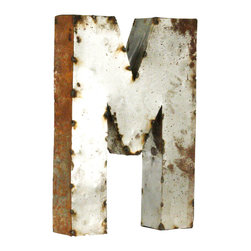 Zentique - Metal Letter A, Small, M - Spell a favorite word or pick out your initials for a bold art installment in your home. Uppercase and lowercase letters made from recycled metal are crafted in Mexico and make for eclectic wall or garden art. The rustic design adds a playful touch to any space.