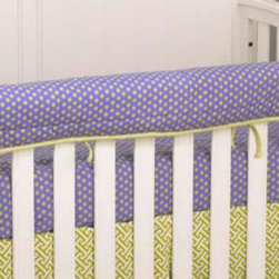 Cotton Tale Designs - Periwinkle Front Cover Up - A quality baby bedding set is essential in making your nursery warm and inviting. All Cotton Tale patterns are made using the finest quality materials and are uniquely designed to create an elegant and sophisticated nursery. The Periwinkle Front Crib Rail Cover Up in Periwinkle and green dot cotton provides a perfect solution for the front rail of babies crib. This Periwinkle rail cover-up protects the foot board on the convertible cribs from teething and scratches while enhancing the crib with color. For the parent choosing not to use a bumper, it can add the needed decor lost when the bumper is removed. It also can be used with a full bumper. All Cotton Tale and N. Selby patterns have crib rail cover-ups. Wash gentle cycle, separate, cold water. Tumble dry low or hang dry. Functional and fun this Periwinkle Crib Rail Front Cover Up is perfect for a girls nursery.