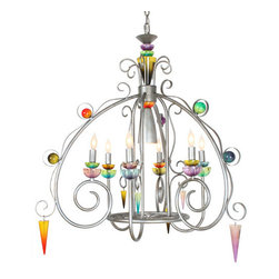Van Teal - Brazilian Nights Peacock Silver Spade Seven-Light Chandelier - - A scaled down version of the Bird of Paradise this frame is great over a dining table or anywhere you want a splash of color.  - VanTeal products are handmade using the finest materials. Due to the handmade nature of Van Teal products the color, finish  size may vary slightly. We suggest that multiples of the same item be ordered at the same so that matching items can be shipped together.  - Each Van Teal piece has been personally conceptualized by the visionary Hivo Van Teal and executed by his most creative design team. For over 30 years and now a 3rd generation company, the Van Teal Family has been creating unique designs, innovative shade treatments and colorful acrylics that are not only works of art but functional lighting fixtures.Van Teal is committed to minimizing (or reducing) the impact our business has on the environment. Our growing concern for the welfare of our planet has motivated us to assess our overall environmental footprint and set in motion a sustainability program. We are focusing efforts on manufacturing procedures and raw material sourcing to reduce energy demands; we are working toward the reduction in production and shipping waste, as well as creating new designs with a greater capacity for recyclability.  - Sustainable: Yes  - Chain or Rod Length: 6 FT  - Acrylic: Multi-Color  - (6) 60w Candelabra (1) R-14 40w Reflector  - Switch: Hard Wire Van Teal - 790450